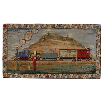 American Folk Art Hooked Rug of a Circus Train, Early to Mid 20th Century