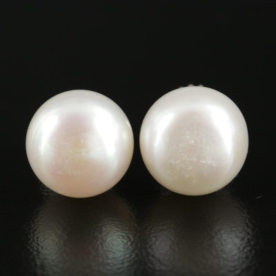 14K White Gold Cultured Pearl Button Earrings