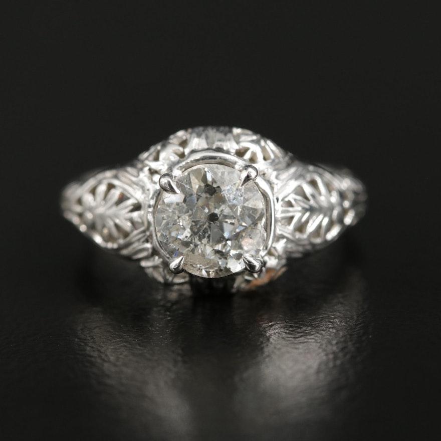 Edwardian 18K Gold 1.08 CT Diamond Ring
