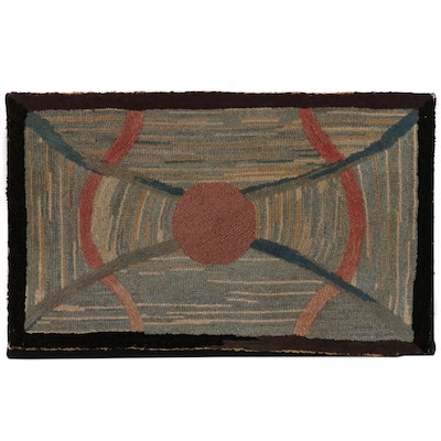 American Folk Art Geometric Hooked Rug Wall Hanging, Early 20th Century