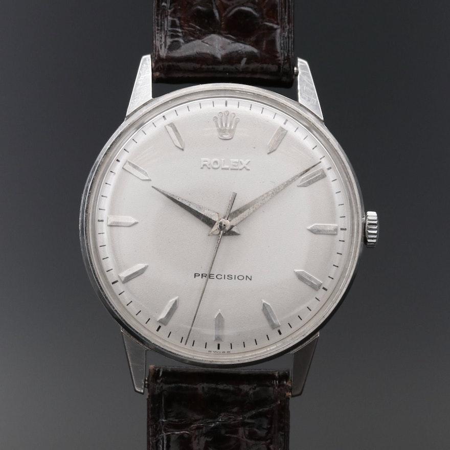 Stainless Steel Rolex Precision Stem Wind Wristwatch