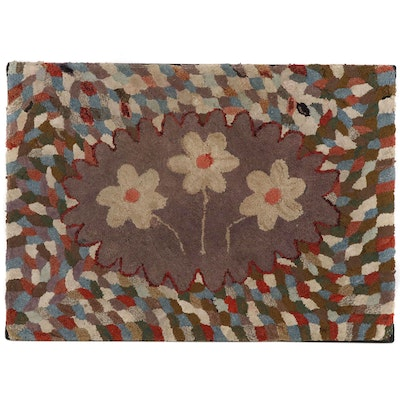 American Folk Art Floral Hooked Rug Wall Hanging, Early 20th Century
