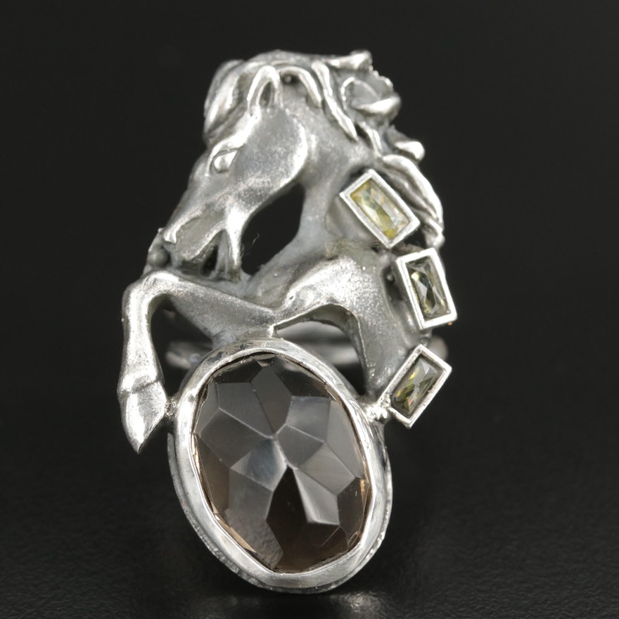 Sterling Silver Glass Horse Ring