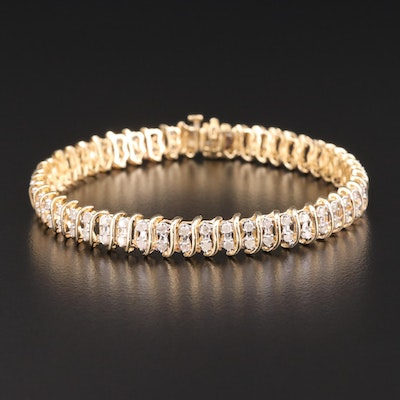 "10K Yellow Gold 2.47 CTW Diamond ""S"" Link Bracelet"