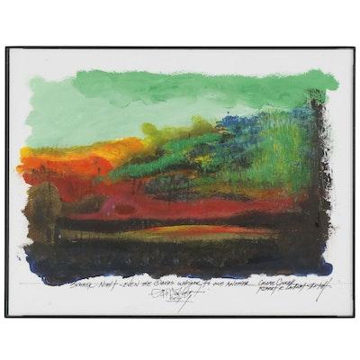 """Robert Lackney Mixed Media Painting """"Summer Night"""""""