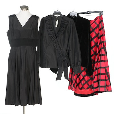 J. Peterman 50's Style Black Taffeta Cocktail Dress and More with Original Tags