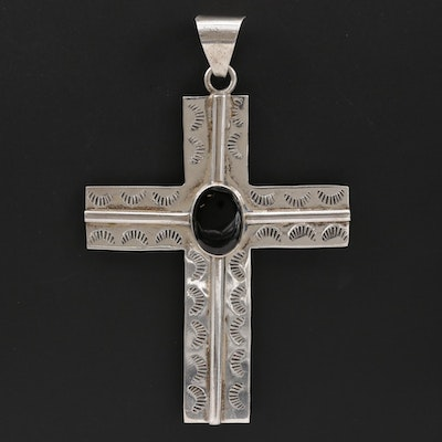 Mexican Sterling Silver Black Resin Stamp Work Cross Pendant