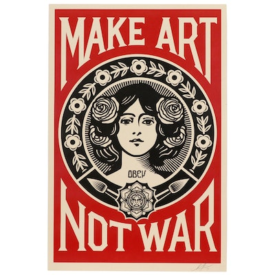 "Shepard Fairey Offset Print ""Make Art Not War"""