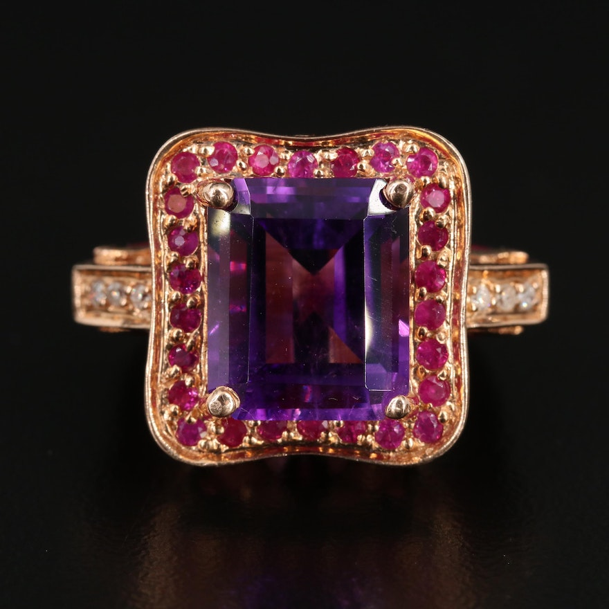 14K Gold Amethyst, Ruby, and Diamond Ring