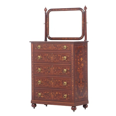 Robert Mitchell Co. Dutch Marquetry Mirrored Chest of Drawers, Early 20th C.