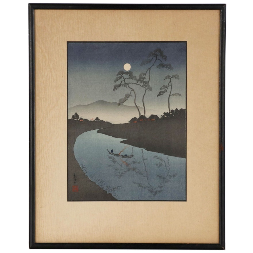 "Shin Hanga Woodblock after Kōhō Shōda ""A Country Scene"", Early 20th Century"