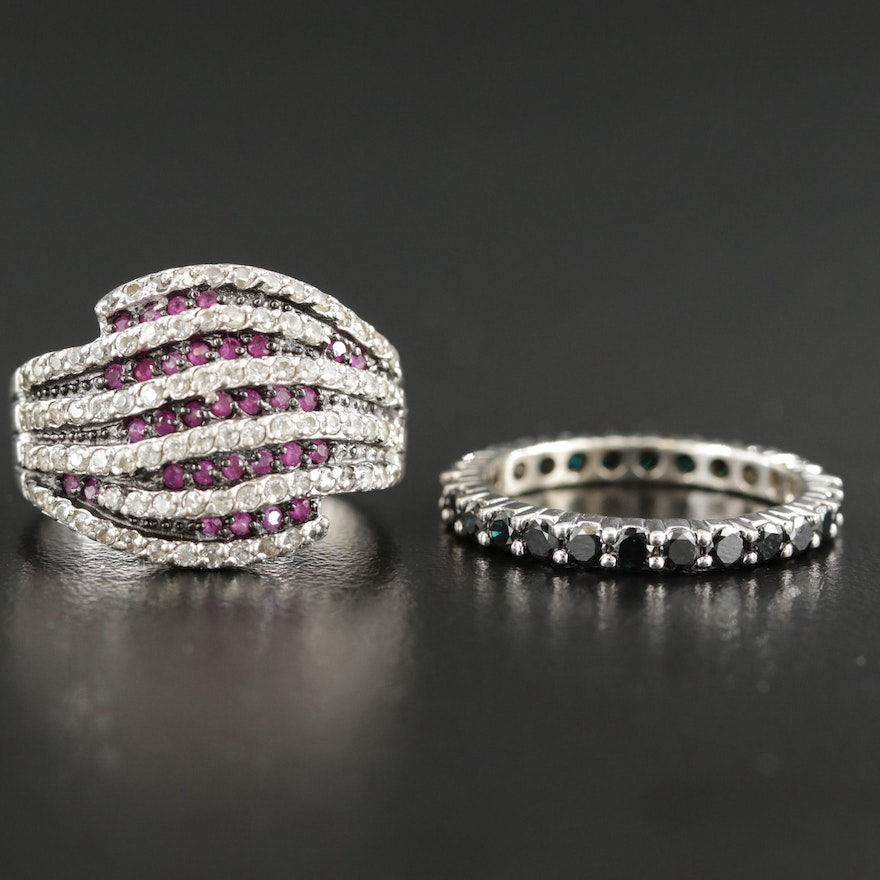 14K 1.04 CTW Black Diamond Band/Sterling Cubic Zirconia and Synthetic Ruby Ring