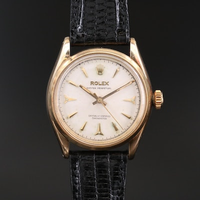 Vintage Rolex Oyster Perpetual 6584 14K Gold Automatic Wristwatch