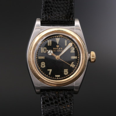 Rolex Oyster Perpetual Bubble Back 14K Gold And Stainless Steel Watch, Vintage