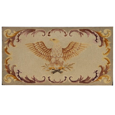 "American Patriotic Hooked Rug Wall Hanging ""His Majesty"", circa 1960"