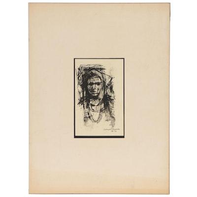 "Leonard Maurer Ink Dry Brush with Wash Portrait Drawing ""Figure"", 1959"