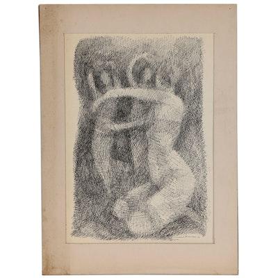 Leonard Maurer Abstract Figural Pen & Ink Drawing, 1955