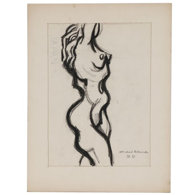 Leonard Maurer Charcoal Sketch of Female Nude, 1955