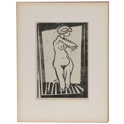 Leonard Maurer Woodcut of a Nude Figure, 1961