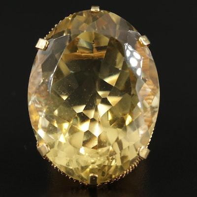 18K Gold 104.28 CT Citrine Statement Ring