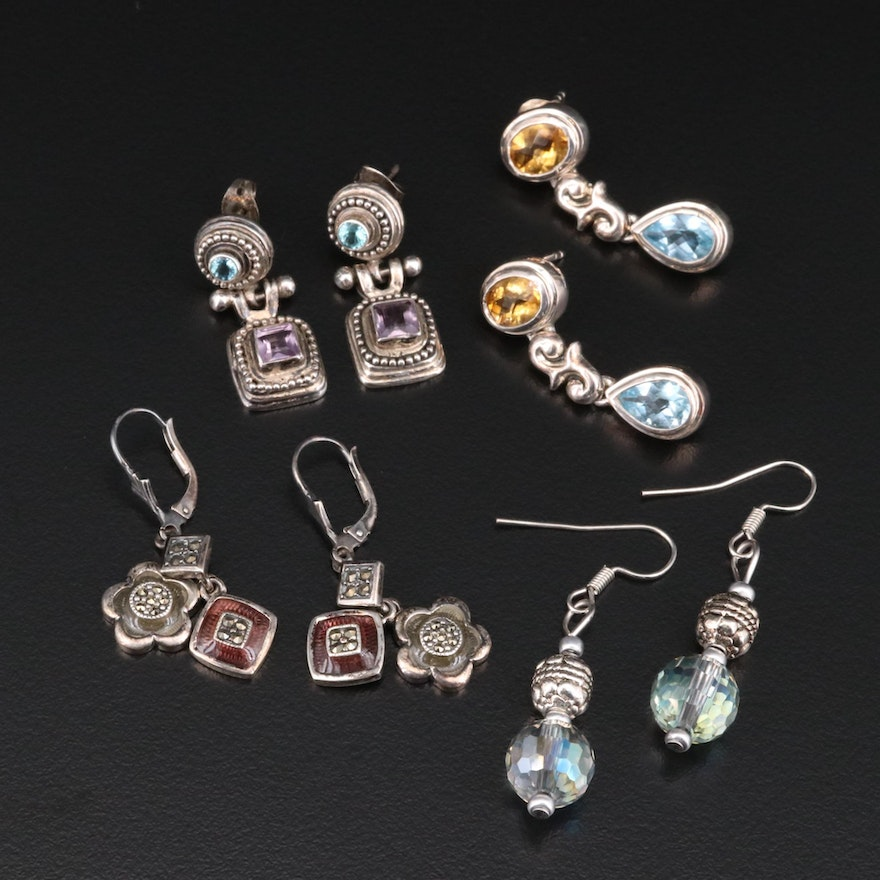 Sterling Silver Dangle Earrings Selection Featuring Topaz, Citrine, and Amethyst