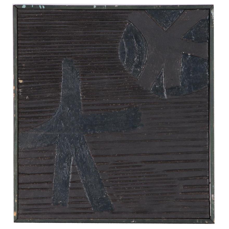 "Leonard Maurer Mixed Media Collage ""Dark Stars"""