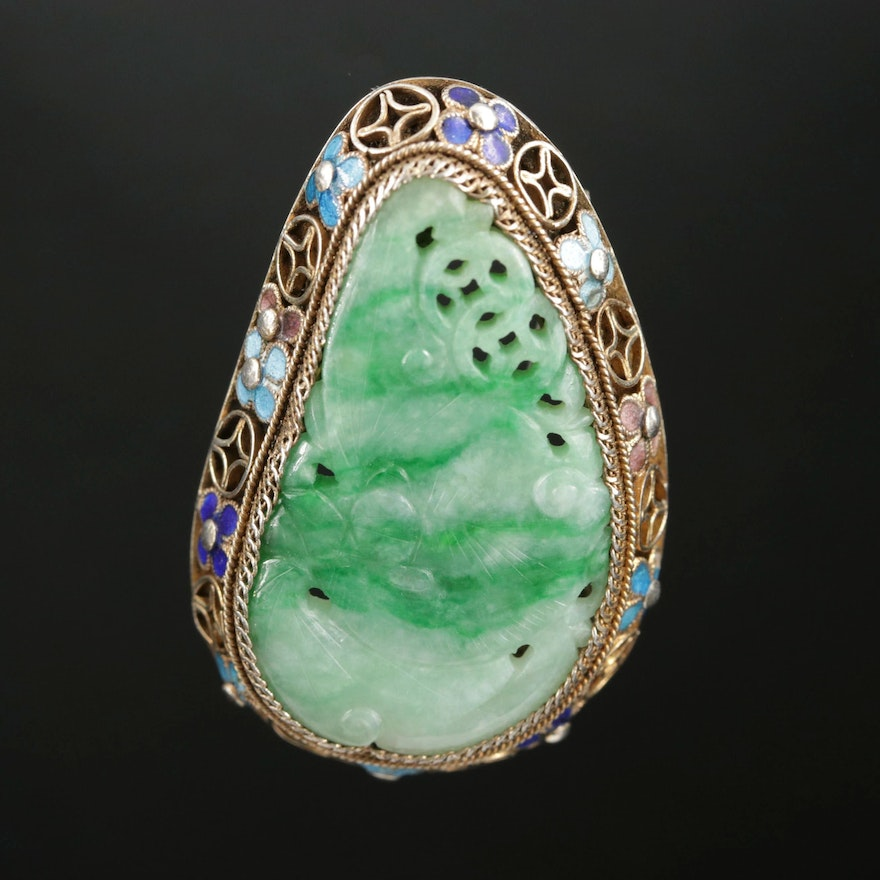 Chinese Sterling Silver Carved Jadeite Converter Brooch, Early 20th Century