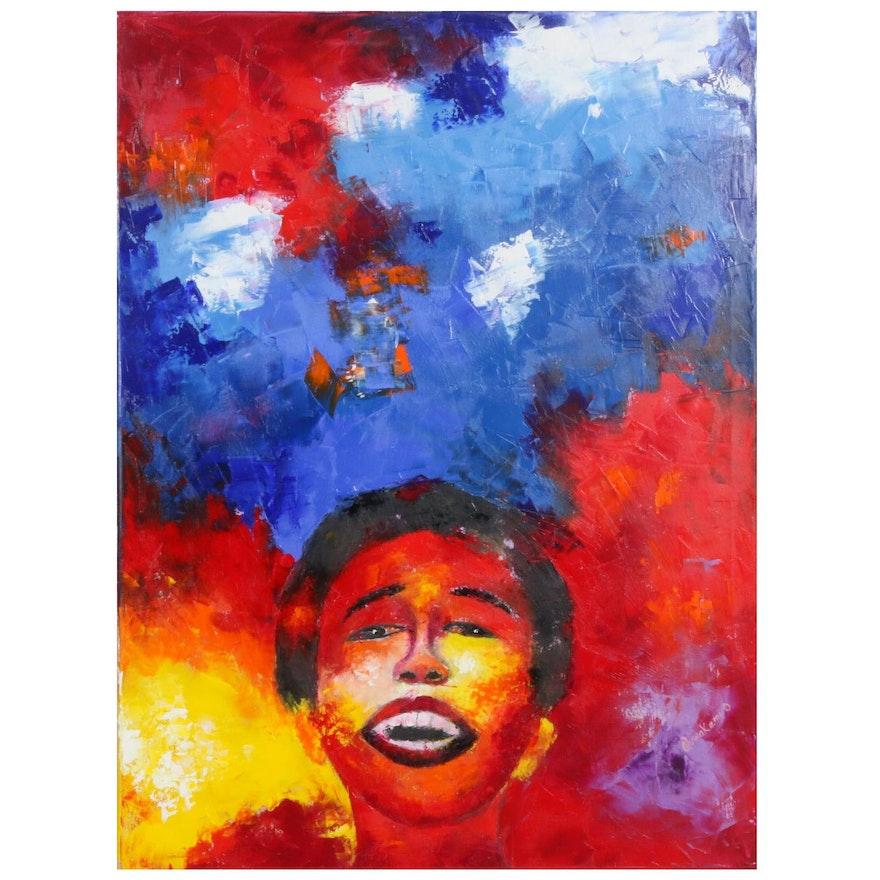 "Oluwakemi Omowaire Oil Painting ""Untitled"""