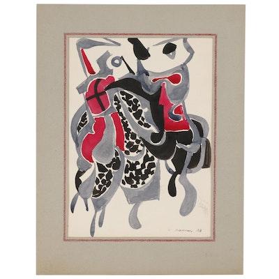 "Leonard Maurer Abstract Watercolor Painting ""Combat"", 1948"