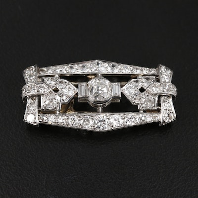 Art Deco Platinum and 18K Gold 2.00 CTW Diamond Fur Clip
