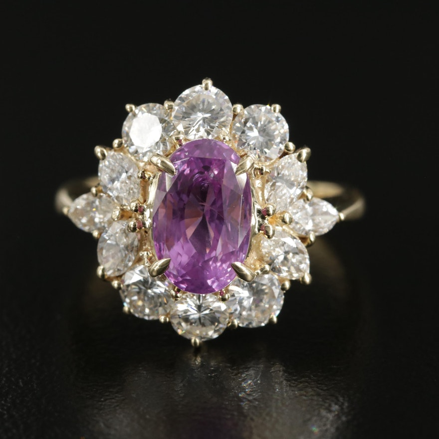 18K 2.89 CT Pink Sapphire and 1.72 CTW Diamond Ring