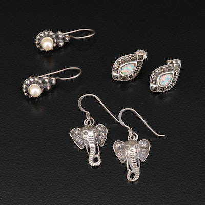 Sterling Earring Selection Featuring Opal and Marcasite Accents