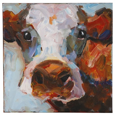 Elle Raines Acrylic Cow Painting