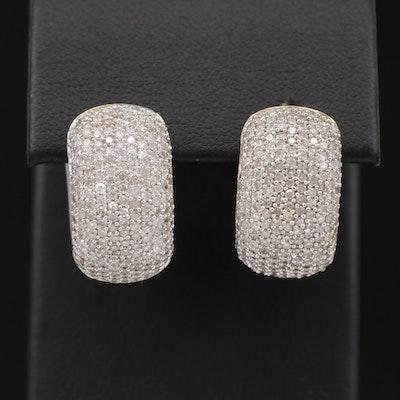 14K Yellow and White Gold 4.50 CTW Pavé Diamond Reversible Huggie Earrings