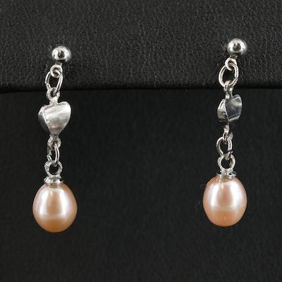 Cultured Pearl Heart Dangle Earrings