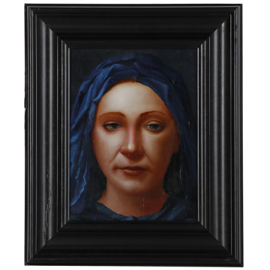 """Bruce Erikson Portrait Oil and Tempera Painting """"Girl in Blue"""", 2007"""