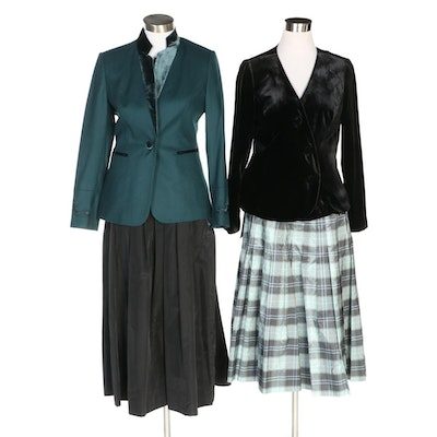 J. Peterman Wool and Velvet Jackets and Taffeta Skirts with Original Tags