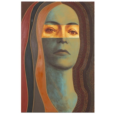 "Farnoosh Lanjani Oil Painting with Gold Leaf ""Visage XII"", 2007"