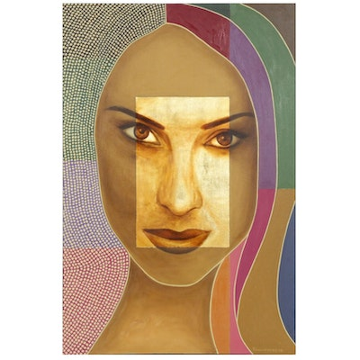 "Farnoosh Lanjani Oil Painting with Gold Leaf ""Visage II"", 2006"