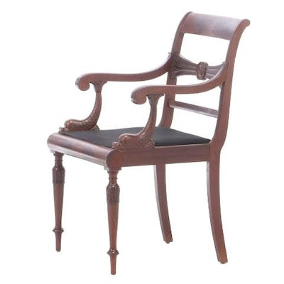 Restauration Carved Mahogany Fauteuil in Savile Row Upholstery, circa 1830