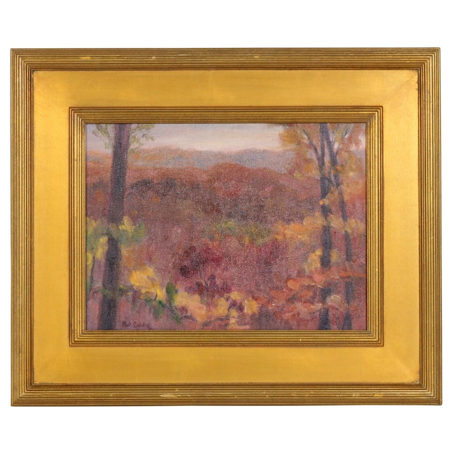 """Pat Siddiq Oil Painting """"Alwquists' Overlook, Brown County,"""" 2004"""