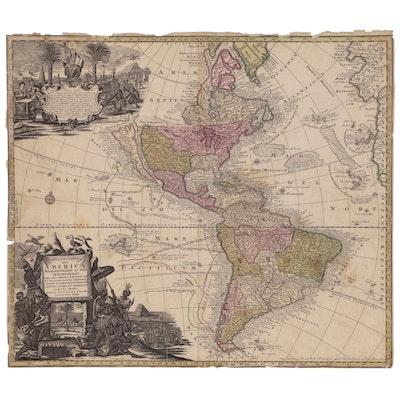 """Matthaus Seutter Engraved Map """"Novus Orbis Sive America"""", circa 1730"""