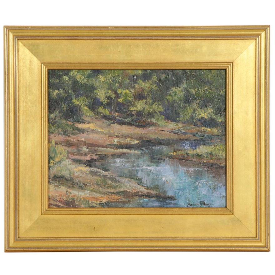 Mary Ann Davis Impressionist Style Creek Landscape Oil Painting
