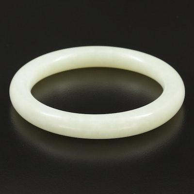 Carved Jadeite Bangle Bracelet