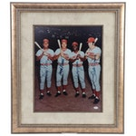 "Perez, Bench, Morgan, and Rose Signed ""Big Red Machine"" Baseball Display, JSA"