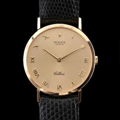 Rolex Cellini 18K Gold Stem Wind Wristwatch, 1997