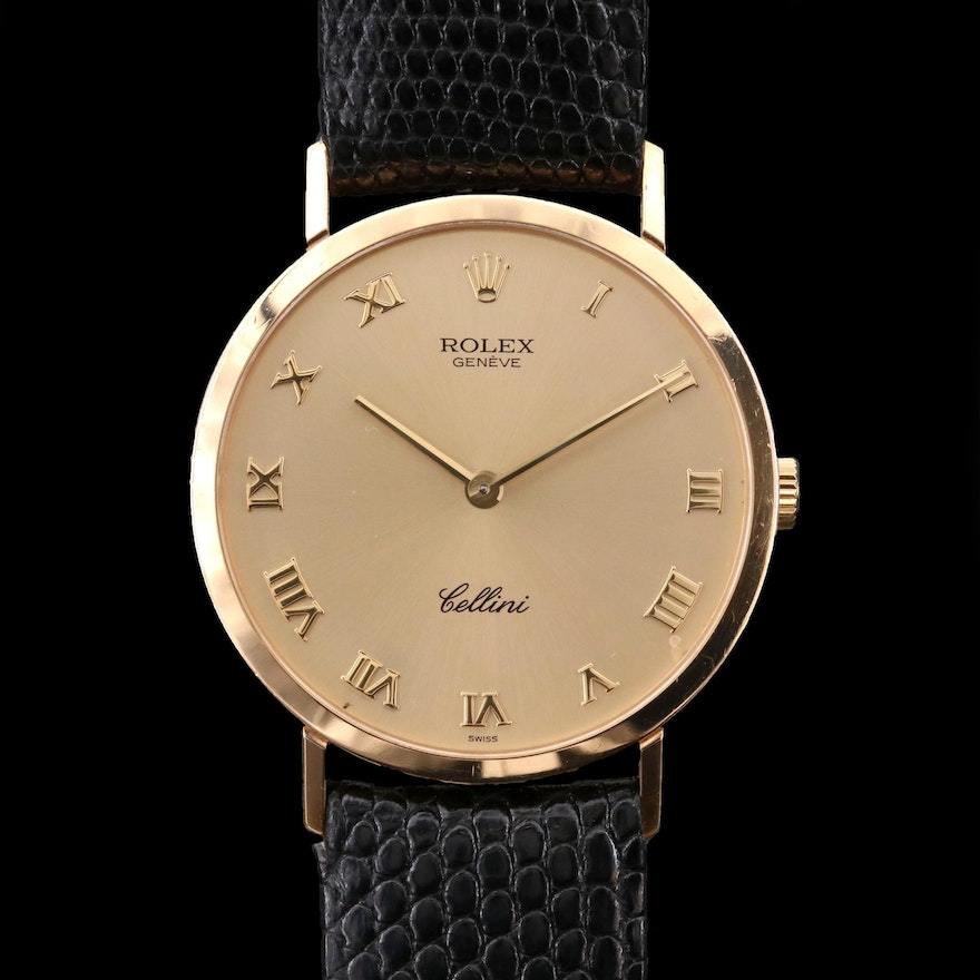 Rolex Cellini 18K Gold Stem Wind Wristwatch, 1997