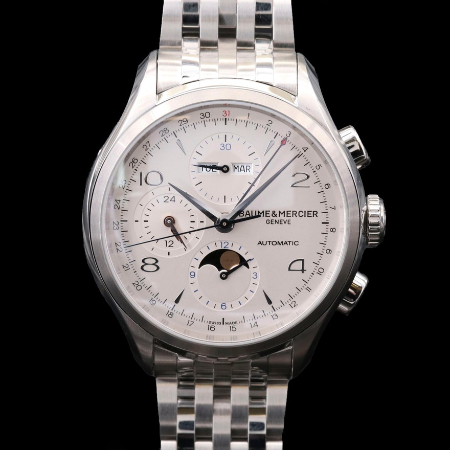 Baume & Mercier Clifton Chronograph Complete Calendar Stainless Steel Watch