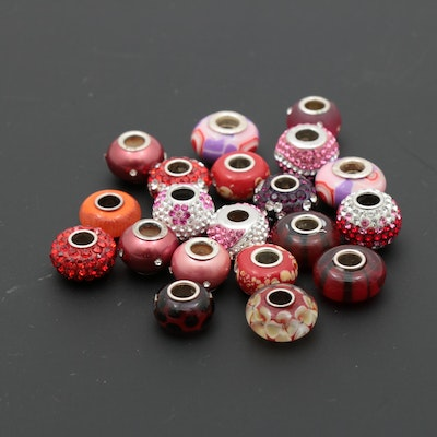 Sterling Silver Glass and Crystal Charms