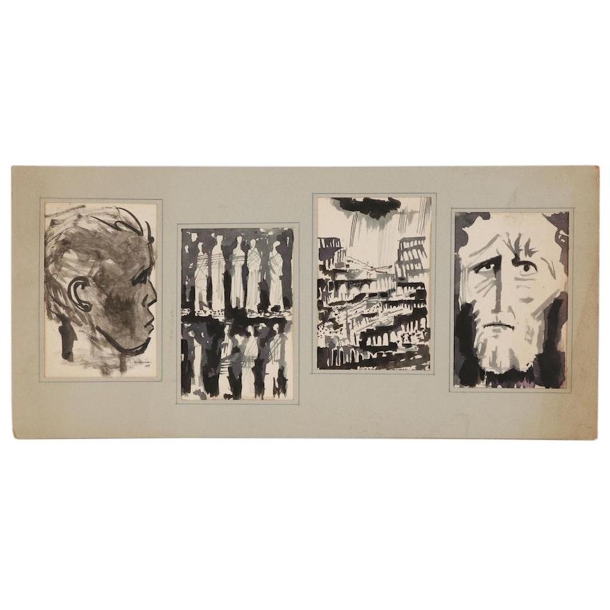 Leonard Maurer Portrait and Landscape Ink Studies, 1948